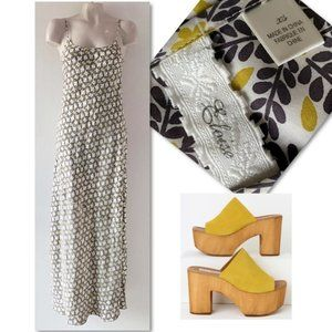 Anthropologie Eloise Silk Print Maxi Dress